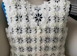 Floral female crochet vest