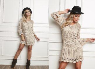 Tutorial on crochet summer boho lace dress