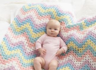 Manta in Crochet Rainbow Bernat