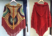 Step by step in crochet poncho hooded