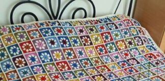 Crochet flower Granny Square Bed spread
