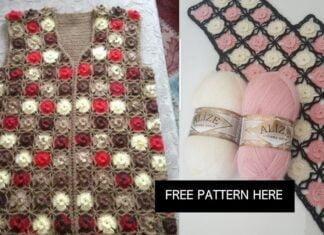Women's vest in cardigan crochet
