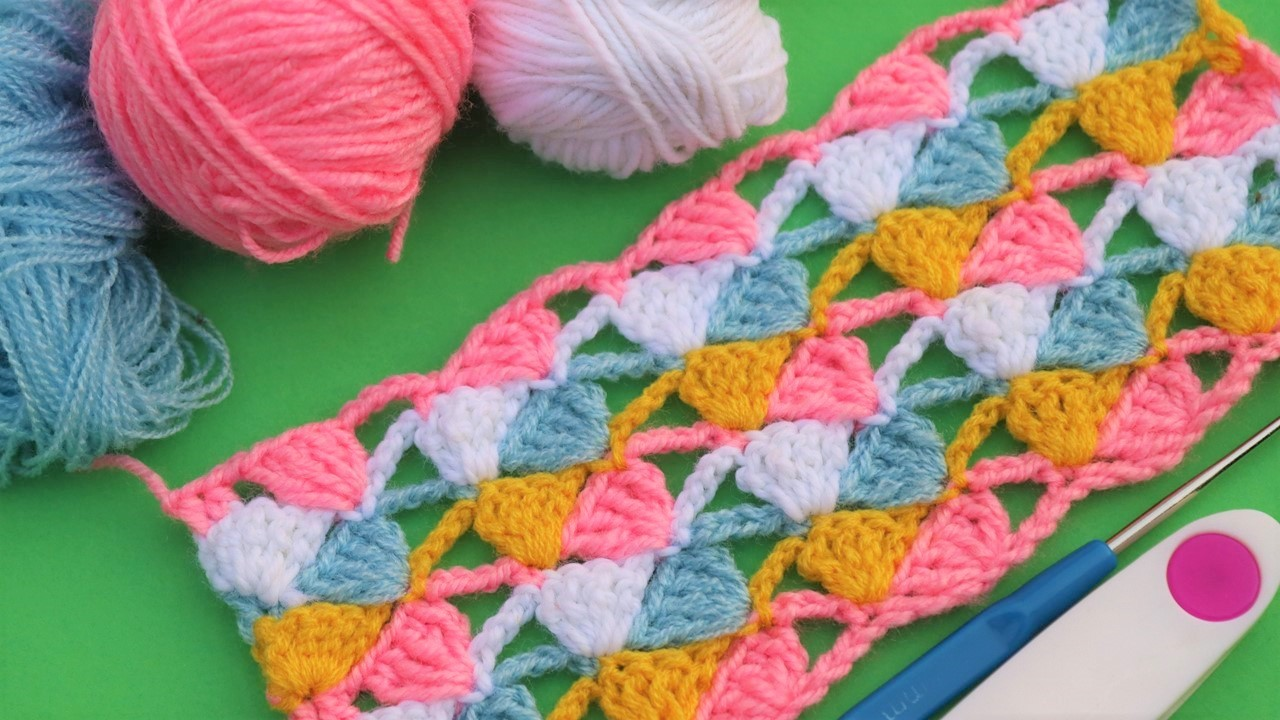 Colorful Crochet baby blanket pattern